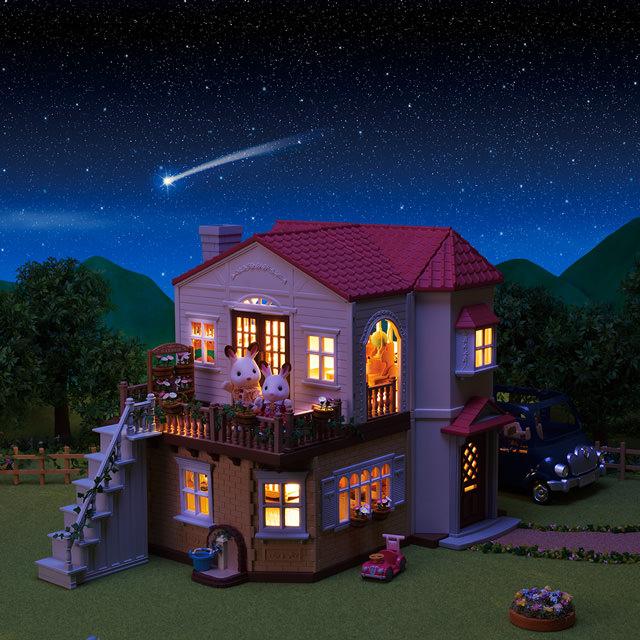 「赤い屋根のお家」電気がつくから夜も明るいの!