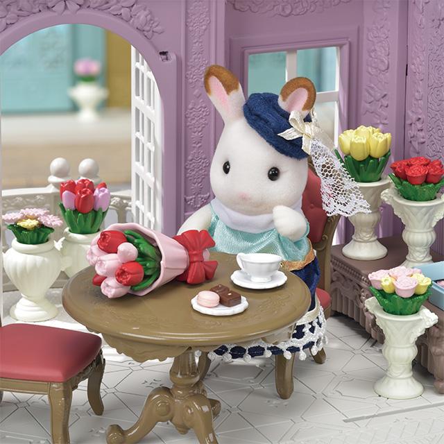 ショコラウサギのお姉さんとお花がいっぱいのすてきなお部屋